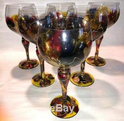 6 Vtg Euroglass Mouthblowed Stained Wine Glasses Hand Made In Romania FREE SHIP