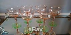6 Vtg TIFFIN Watermelon Pink &Green Diamond Optic Etched Sherbet & Wine Glasses