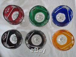 6 rainbow color wine goblets CUT TO CLEAR German vintage lead crystal