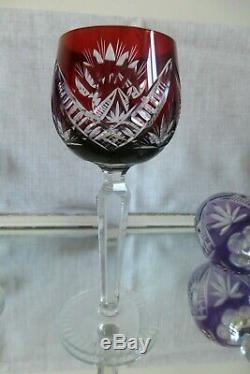 6 x Vintage BOHEMIAN HARLEQUIN OVERLAY HOCK WINE GLASSES Excellent Cond