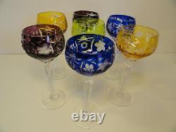 7 Antique Vintage Czech Bohemian Color Clear Wine Hock Cut Crystal Glasses ZE2-2