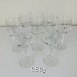 7 Orrefors Crystal Rhapsody Clear White Wine Glasses 5.25 Vintage Mid Century