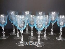 7 VINTAGE FOSTORIA NAVARRE BLUE ETCHED Large Claret WINE GLASS GOBLETS EUC