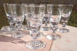 7 Vintage STEUBEN BALUSTER White Wine Goblets/Stems Teardrop 5-1/8 Fine Crystal