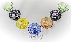7pc Assort Nachtmann Traube Bavaria Art Glass Wine Glasses, c1960 Hand Etched