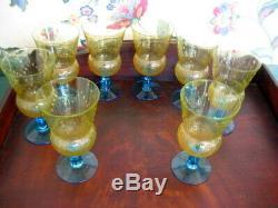 8 ANTIQUE VTG BLUE STEM VASELINE URANIUM PATTERN GLASS CHAMPAGNE WINE Pukeberg