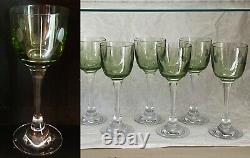 8 Baccarat Crystal Chartreuse Green Vintage Wine Glasses Free Shipping