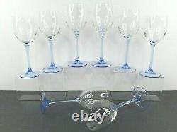 8 Luminarc France Blue Stem Wine Glass Set 7.75 Vintage Elegant Arcoroc Glasses