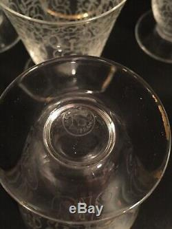 8 Rare Vintage Etched Glass French Baccarat Michelangelo Cordial Wine Glasses