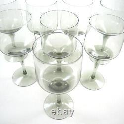 8 Vintage 14.5cm Orrefors Crystal Rhapsody Smoke Red Wine Glasses
