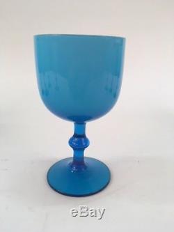 8 Vintage Carlo Moretti Wine Goblets Cased Glass Hollywood Regency Baby Blue