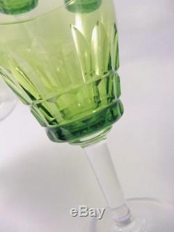 8 Vintage Cut Crystal Scandinavian Green White Wine glasses