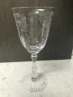 8 Vintage Fostoria Navarre Clear Crystal Water/ Wine Goblets 7 5/8 Tall