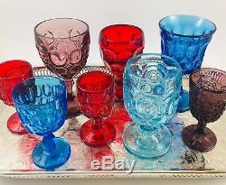 8 Vintage Goblets BOHO Mix Multi-Color Wine Water Glasses Fenton LE Smith Wright