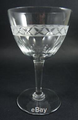 8 Vintage Holmegaard Crystal Cut & Etched Ejby Red Wine Glasses Jacob Bang 1937