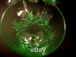 8 Vintage Holmegaard Kastrup Cut Crystal Else White Wine Glasses Uranium UV Glow