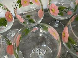 8 Vintage Marked Franciscan Desert Rose Stemmed Wine Glass Goblets 6