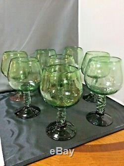 8 Vintage Mexican Wine Water Glasses Goblets 24 oz Bubble Glass Twisted Stem