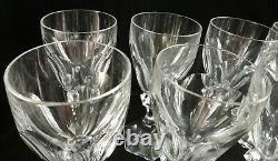 8 Vintage St. Louis Cut Crystal Stem White Wine Goblets, Chambord Pattern, 6 t