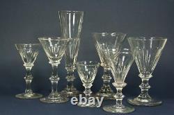 8x antique 18th C Dessert Wine, Sherry, Port glass, ca. 1780, ca. 11,3cm/4.4inch