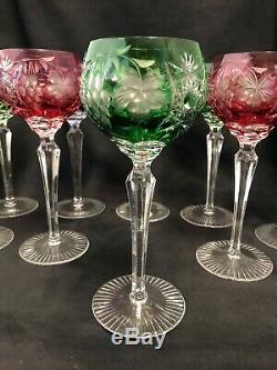 9 R. Kunze German Vintage Crystal Wine Hocks Multi Color
