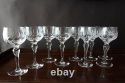 9 Vintage Stuart Crystal Carlingford Cut Hock Wine Glasses, Signed
