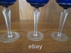 9 Vtg Cobalt Blue Cut to Clear Crystal Wine Hock Goblet Glass Czech Bohemian