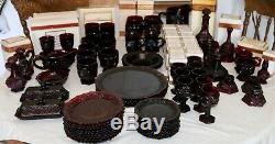 AVON cape cod Ruby Red Vintage dinner, butter, wine glasses eat 107 pieces USA