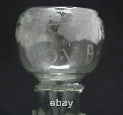 Antique 18th C. Wine Glass, Roemer Rummer, wheel cut engraving, text I. O. V. B