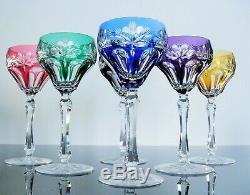 Antique 6 Glasses Cups Wine Martini Crystal Colour Double Size st. Louis