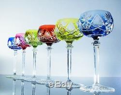 Antique 6 Glasses Wine Crystal Colour Berncastel Val st Lambert