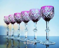 Antique 6 Glasses Wine Crystal Colour Size st. Louis Signed