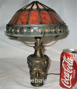 Antique Bradley Hubbard Bacchus Wine Man Jeweled Art Glass Lamp Sconce Light B&h