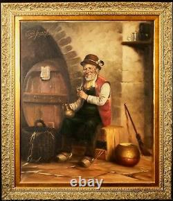 Antique Dutch painting oil signed Franke Suffoldos A welcomed glass of wine