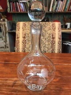 Antique Etched Glass Decanter Large Vintage Crystal Wine Brandy Bottle 13.25 T