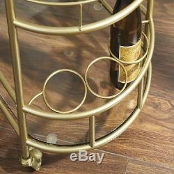 Antique Gold Bar Cart Small Oval Wine Trolley Glass Top Metal Retro Home Décor