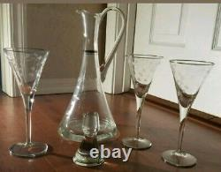 Antique Handblown wine Decanter And 3 Matching Etched Stem Wine Glasses Nice
