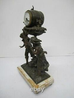 Antique L&F Moreau French Marble Bronze Figural Sculpture Clock Wine Barrel