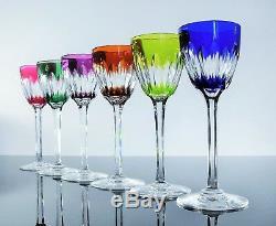 Antique Large 6 Glasses Wine Crystal Colour Moulded Verona Baccarat Signed