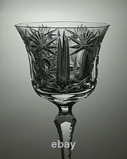 Antique Rare Lead Crystal Hobstar Cut Wine Hock Glasses Set Of 2 8 1/2