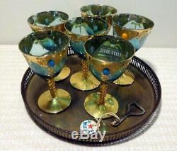 Antique Set of 6 Bohemian Czech Moser Jeweled Cobalt Glass Wine Goblets Gold Vtg