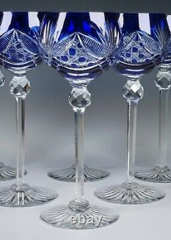 Antique Very Fine Blue-Cut-to-Clear 8 Tall Wine Stem Glasses Set of 6