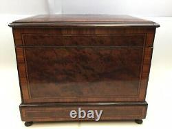 Antique Vintage Cellarette Mahogany Wood Wine Bar Case Set with Glasses