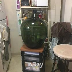 Antique/Vintage Green Glass Demijohn Extra Large smooth pontail