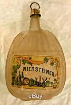 Antique Vintage Niersteiner Wine Bottle Glass German Figural Christmas Ornament