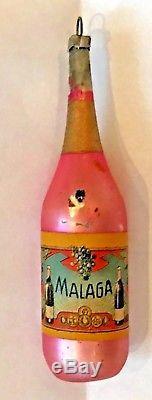 Antique Vintage Pink MALAGA Wine Bottle Glass German Figural Christmas Ornament