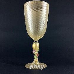 Antique Vintage Venetian Glass Murano Salviati 1950 Pokal Wine Glass Goblet