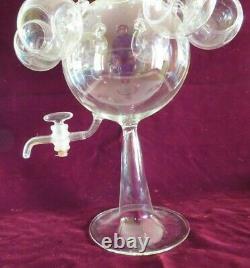 Antique Vtg Italian Blown Glass Wine Dispenser Samovar Tea Set, Bimini Salviati