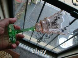 Antique Vtg UV Glow Vaseline Uranium Tiffin Watermelon Wine Glass Vase Set Rare