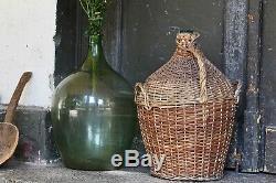 Antique Wicker Glass Bottle Kitchen Decor Large Vintage Demijohn Wine Bottle